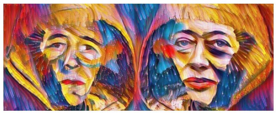 Two Galactic Pilgrims. Acrylic on Canvas 28 x 11 cm by Shaharee Vyaas